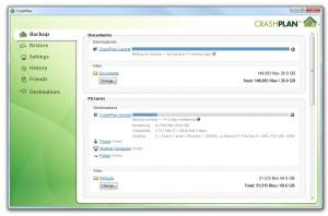 L'interface de CrashPlan pour sauvegarder ses données sur le cloud, sur un disque externe, ou chez un ami