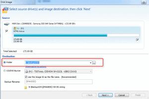 Choix du répertoire de sauvegarde sur disque dur externe dans Macrium Reflect