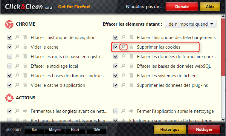 Option pour effacer les cookies sur Chrome automatiquement grâce à l'extension Click and Clean