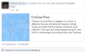 La fonction Safety Check de Facebook lors du cyclone Pam