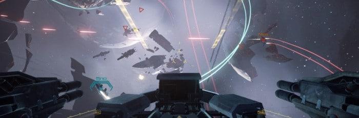 Aperçu d'une bataille spatiale dans le jeu Eve Valkyrie