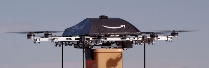 Un drone Amazon Prime Air en vol