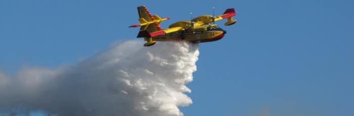 canadair luttant contre un feu de forêt
