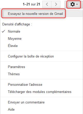 Option pour activer la nouvelle interface Gmail
