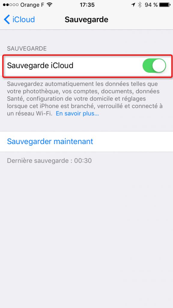 Fonction de sauvegarde automatique sur iCloud dans les réglages iOS