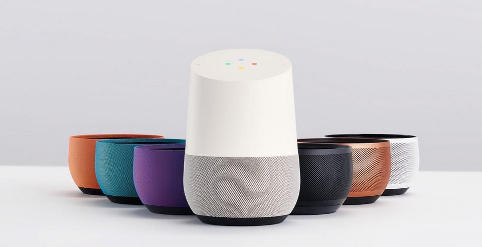 Les coloris du Google Home, l'enceinte connectée avec assistant intelligent de Google