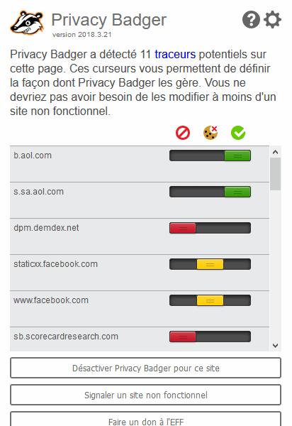 Privacy Badger est une extension qui analyse le comportement des cookies e tbloque tous ceux qui effectuent un pistage de votre navigation
