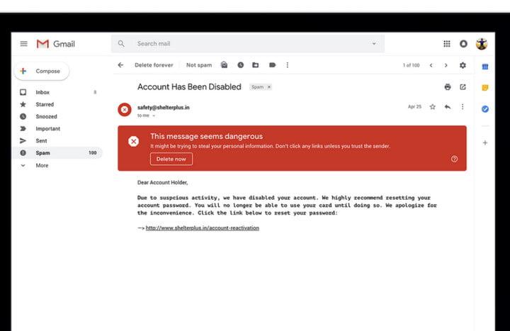 Message d'avertissemen de sécurité sur la nouvelle interface de Gmail