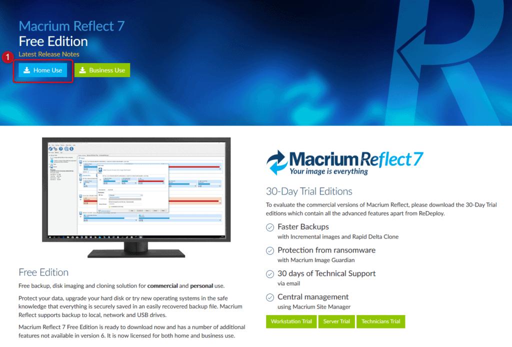 Téléchargement de Macrium Reflect Free.
