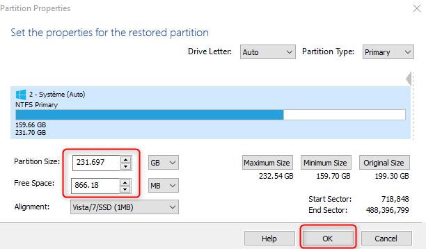 Modication de la taille d'une partition dans Macrium Reflect Free, en cas de disques de tailles différentes lors du clonage.