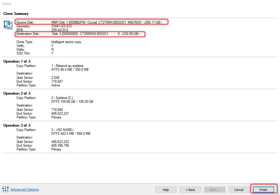Validation de l'opération de clonage du disque dur vers le nouveau SSD dans Macrium Reflect Free.