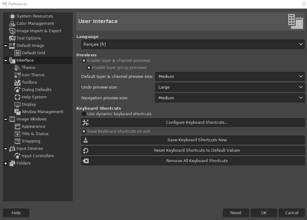 Modification de la langue dans les options de GIMP.