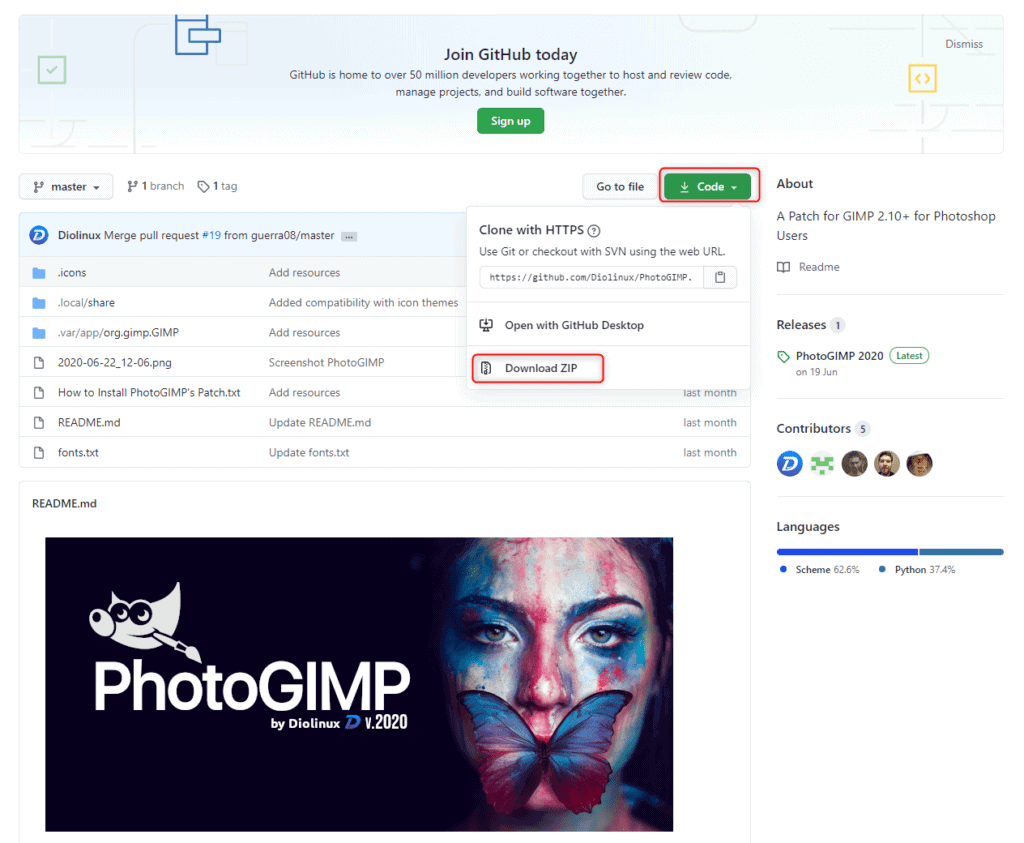 Téléchargement de PhotoGIMP.